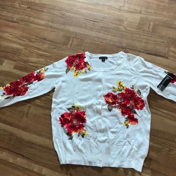George Sweaters - Flowered Cardigan Sweater